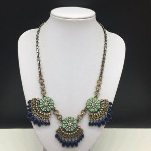J CREW Blue Green Clear Rhinestone Beaded Necklace